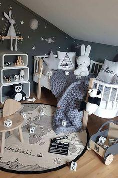 Inspiration from instagram - M a l i n N i l s e n @mamma_malla - black and white, boys room ideas, grey, black and white boys room, Scandinavian style, monochrome design kids room ideas