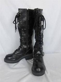 Nana Tall Black Motorcycle Steampunk Boots Five Buckle Straps Women Size 7 | eBay $29.95