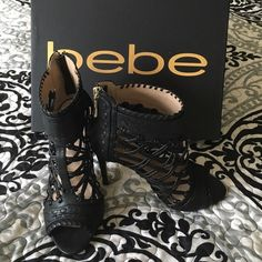 ‼️SALE‼️ 65$ bebe blk Rylea heels Sz6 Strapping and beautiful!! Dance the night away in these bad girls!  Worn twice and in amazing condition I look great dressing up jeans or with a beautiful cocktail dress!   let me show you some nights out!  bebe Shoes Heels