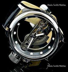 Invicta 52mm Russian Diver Ghost Bridge Automatic Silver Tone eather Strap Watch