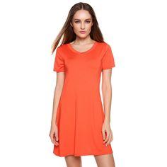 Orange New Stylish Ladies Women Short Sleeve V Neck Solid Casual Dresses