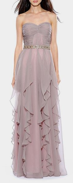 Taupe Ruched Ruffle Strapless Gown.     Such a lovely color. Maybe for my nieces wedding..