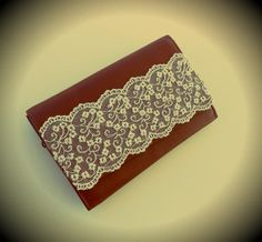 Leather Tabac Wallet with offWhite Floral Lace by ecreation, €30.00