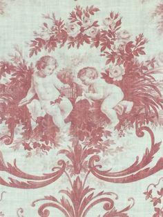 "Cherub Angel Basket Floral Brown Gray Background Cotton Fabric 48/"" Wide BY YARD"