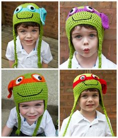 Teenage Mutant Ninja Turtle Handmade Crochet Hat TMNT BTS Halloween Costume #Handmade #Beanie DIY Costume with a Ninja Hat in place of a mask is great and  he can use the hat all year long. Great for Birthday Parties too. Ask about multiple pieces discount for party favors. Decorate your little ones head.