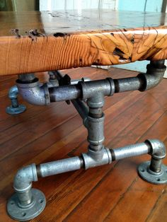 Coffee table, Reclaimed Barn Wood Table, Galvanized pipe,steam punk and old brass valve - interiordecor Designs Pipe Furniture, Industrial Furniture, Rustic Furniture, Building Furniture, Industrial Pipe, Furniture Vintage, Vintage Industrial, Furniture Ideas, Furniture Design