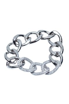 L Accessories Swarovski Crystal Bracelet in Silver - Beyond the Rack
