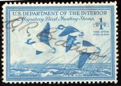 1948 US Federal Duck Stamp #RW15 $1 Buffle-Heads Used NH OG Signed Good Margins