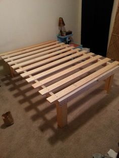 """Very cheap and easy diy queen platform bed.. $55  I want mdf under  the mattress, 15""""clearance underneath :-)"""