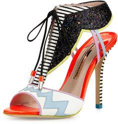 Webster Sophia Leilou Glitter Lace-Up Sandal, White/Black on shopstyle.com