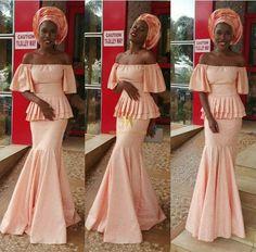 Nigerian Wedding Latest Aso-ebi styles peach shade