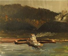 Adam Maeroff Monongahela River tug boat steel mill landscape Braddock painting