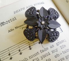 Antique Victorian Carved Mourning Flower Brooch with Seed Pearl