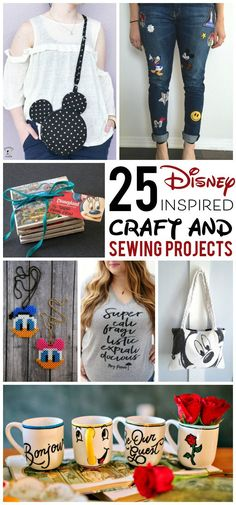 More than 25 Adorable DIY Disney Craft and Sewing Projects - so many fun things to make for Disney, from Fun DIY Disney Family T-shirts, to Mickey Mouse inspired sewing patterns. Crafts Adorable Disney DIY, Craft and Sewing Projects Disney Diy Crafts, Diy And Crafts Sewing, Sewing Projects For Beginners, Diy Craft Projects, Diy Disney Gifts, Diy Disney Decorations, Disney Crafts For Adults, Craft Ideas, Dyi Crafts