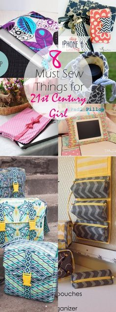 8 must sew things for 21st century girls. Such a GREAT list of things to sew for YOUNG girls. I'm IN LOVE. So helpful. Contains links to tutorials for iPad pillows, organizers, camera bags and a lot of OTHER stuff. CHECK OUT NOW