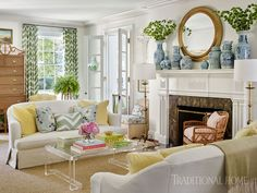 Sarah Bartholomew Design (House of Turquoise) Coastal Living Rooms, Formal Living Rooms, Home And Living, Living Spaces, Coastal Cottage, Coastal Style, Coastal Homes, Cozy Living, Coastal Decor