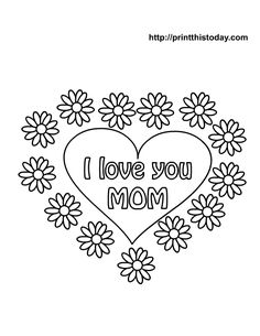 Free Print Valentine Coloring Pages | Free Mother's Day Coloring Pages (Printable)