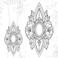 Simple Mandala Tattoo, Dotwork Tattoo Mandala, Geometric Mandala Tattoo, Mandala Tattoo Design, Flower Tattoo Designs, Rose Drawing Tattoo, Tattoo Drawings, Line Tattoos, Sleeve Tattoos