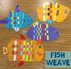 Kindergarteners are learning the weaving skill using a subject of great beauty in our world - tropical...
