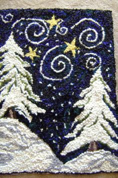 I love the night sky blue contrasting with the snow-covered trees! Hand hooked by Abigail Lee Gaddis Rug Hooking Designs, Rug Hooking Patterns, Christmas Rugs, Punch Needle Patterns, Latch Hook Rugs, Rug Inspiration, Hand Hooked Rugs, Wool Art, Penny Rugs