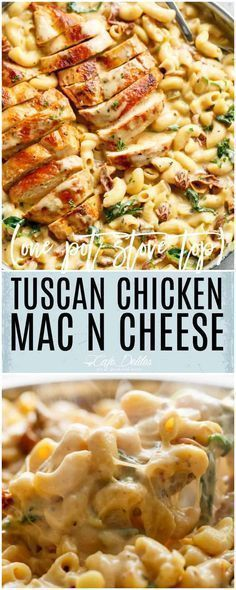 Tuscan Chicken Mac And Cheese is a ONE POT dinner made on th. - Food RecipesTuscan Chicken Mac And Cheese is a ONE POT dinner made on the stove top, in less than 30 minutes! It will be hard to go back to regular Mac and Cheese! Pasta Recipes, Dinner Recipes, Cooking Recipes, Skillet Recipes, Meat Recipes, Recipes For One, Cooking Kids, Recipies, Quiche Recipes
