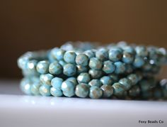 6mm Faceted Round Czech Glass Beads, Light Sky Blue with Silverish Picasso Style Finish Fire Polished Faceted Beads CZFB004 by FoxyBeadsCo on Etsy