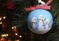 Snowman handprint bauble