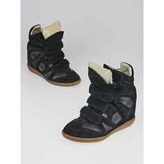 Pre-owned Isabel Marant Black Suede and Leather Bekett Over Basket... ($175) ❤ liked on Polyvore featuring shoes, sneakers, black velcro sneakers, black wedge shoes, black leather sneakers, black hidden wedge sneakers and leather wedge sneakers