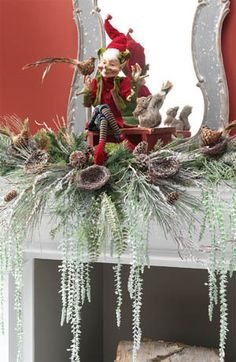 RAZ mantel decoration using Elf, Bird Nest Branches, Feathered Birds and Straw Squirrel from the 2013 Feathered Friends collection. Whimsical Christmas, Victorian Christmas, Vintage Christmas Ornaments, Christmas Fireplace, Christmas Mantels, Christmas Wreaths, Christmas Villages, All Things Christmas, Christmas Wishes