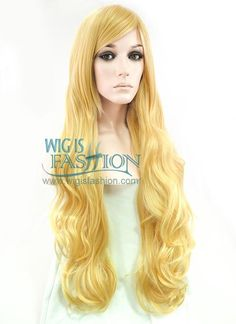 """31"""" Long Curly Golden Blonde Fashion Synthetic Hair Wig PL033A"""