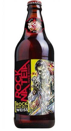 Cerveja Rock na Teia Rock and Roll Weiss, estilo German Weizen, produzida por Cervejaria Dortmund, Brasil. 5% ABV de álcool.