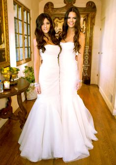 I know these dresses were their bridesmaids dresses for Kim's wedding, but this would make for a simple, yet GORGEOUS wedding dress!