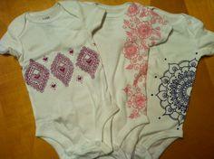 Hand-painted henna design onesies.  Great baby gift!