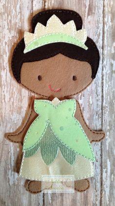 Kiss Any Frogs Lately Princess Felt Tiana by NettiesNeedlesToo, $8.00...dress up doll in felt