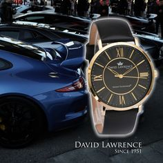 """The David Lawrence """"Oxford"""" 46001 Design. Black Face/Gold -Black Leather Band. Case Diameter 40:00mm - Watch Band Width 20:00mm - Water Resistance 3ATM - Patented Zaexen Tecnologik Quartz Movement GM15. Ten Years Warranty. On-Line at: http://www.davidlawrenceluxurywatches.com/product-page/8e4eb2d3-9ee7-9f55-838e-dc3c5fbf63c9"""