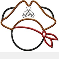 Mister Mouse Pirate Hat Machine Applique Embroidery Designs, multiple sizes including 4 inch