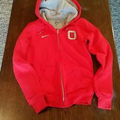 Nike OSU full zip hoodie Red with gray inside the hood, slim fitting hoodie. Great condition, barely worn. Smoke free home Nike Tops Sweatshirts & Hoodies