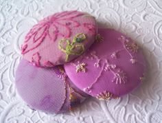 Berry mix  3 fabric covered buttons  1 7/8 ♡ by EmbellishedLife2