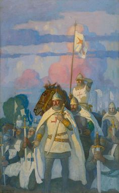 N.C. WYETH  The Crusaders Before Jerusalem  Oil on Canvas40.5″ x 25.5″