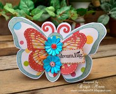"""Brigit's Scraps """"Where Scraps Become Treasures"""": Layered Butterfly Card"""