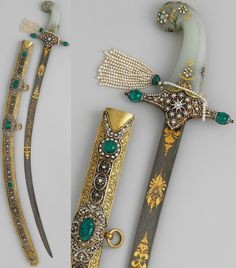 Ottoman shamshir, 19th Century, Iranian wootz steel blade, scabbard set with gold, diamonds, emeralds and pearls, jade handle, a ceremonial sword, used for an investiture ceremony, a perfect symbol of the luxury, extravagance and workmanship in the Ottoman Empire, said to have been made in 1876 for the investiture of the Ottoman sultan Murad V (reigned May 30–August 31, 1876). He suffered a nervous breakdown before the ceremony and was deposed and imprisioned until his death in 1904.
