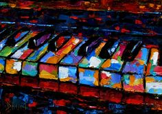 Abstract piano art painting keyboard painting music by Debra Hurd -- Debra Hurd