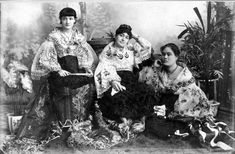 Two Spanish women and an upper-class Filipina in Manila, 1890s.