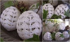 Crocheted and stiffened easter eggs. Love Crochet, Knit Crochet, Diy And Crafts, Arts And Crafts, Easter Crochet, Chrochet, Crochet Accessories, Crochet Dolls, Holiday Crafts