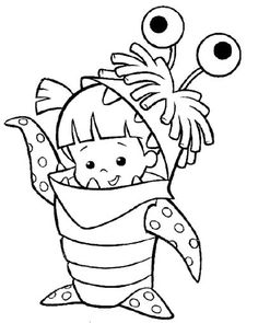 monster inc cute boo coloring pages monster inc coloring pages kidsdrawing free coloring - Pixar Coloring Pages Monsters