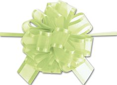 Bows - Lime Green Sheer Satin Edge Pull Bows, 18 Loops, 5/8 Width (12 Bows) - BOWS-PR819-34 >>> For more information, visit image link.