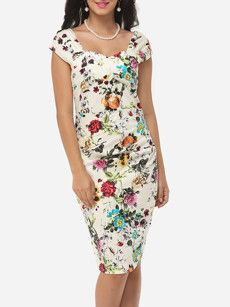 Floral Printed Charming Sweet Heart Bodycon-dress