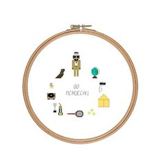 Richie Tenenbaum Favourite things Cross by peaceandstitches #crossstitch #cross #stitch #wesanderson #wes #Anderson #royal #tenenbaums
