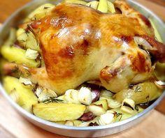 Frango assado recheado com farofa :: Pimenta na cozinha