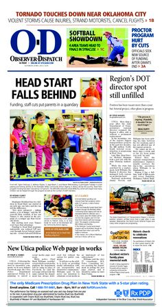 The front page for Saturday, June 1, 2013: Head Start falls behind